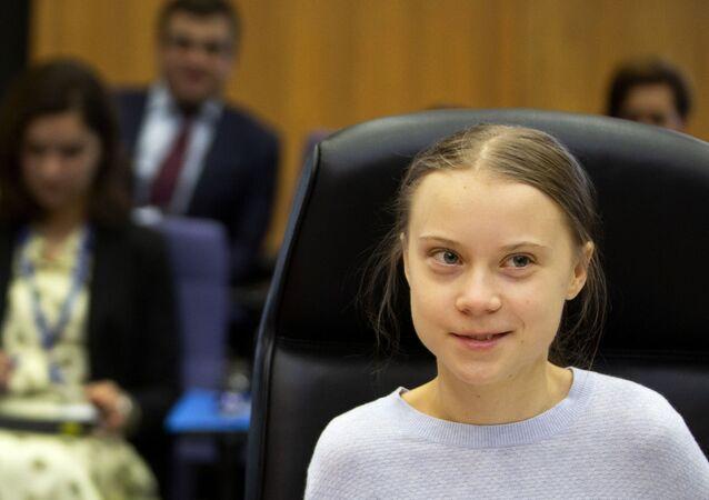 Ativista sueca Greta Thunberg participa de encontro na sede da União Europeia em Bruxelas