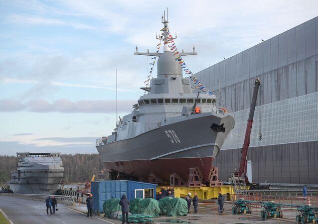 Navio porta-mísseis Burya do projeto 22800 antes do lançamento no estaleiro Pella na região de Leningrado (São Petersburgo)