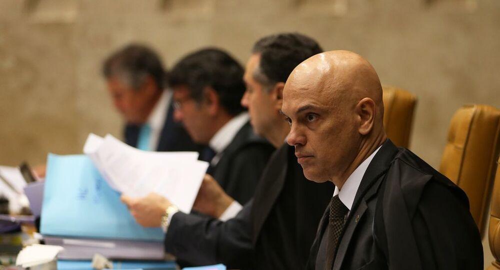 O ministro do Supremo Tribunal Federal Alexandre de Moraes durante julgamento