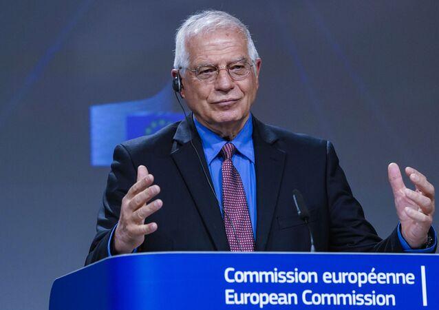 Chefe da Política Externa da União Europeia, Josep Borrell, durante coletiva de imprensa em Bruxelas