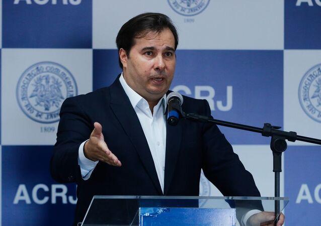 O presidente da Câmara dos Deputados, Rodrigo Maia, faz palestra na Associação Comercial do Rio de Janeiro (ACRJ).