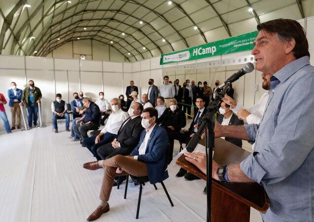 Presidente Jair Bolsonaro inaugura o Hospital de Campanha de Águas Lindas de Goiás, o primeiro hospital desta categoria feito pelo Governo Federal para o combate à COVID-19
