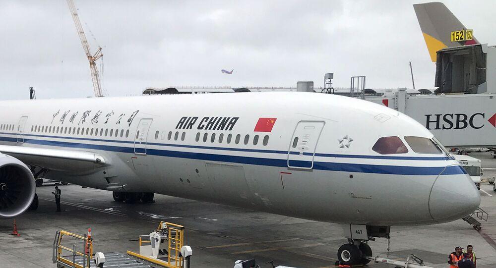Aeronave da companhia aérea Air China no Aeroporto Internacional de Los Angeles, EUA (foto de arquivo)