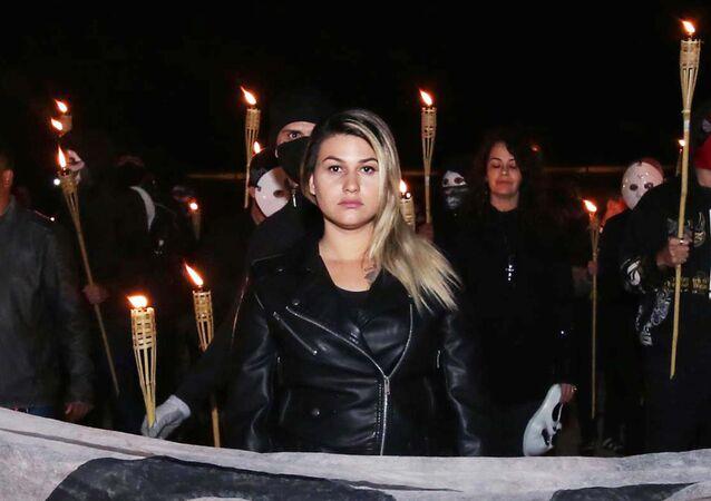 Sara Winter em protesto bolsonarista do 300 do Brasil, Brasília, 31 de maio de 2020