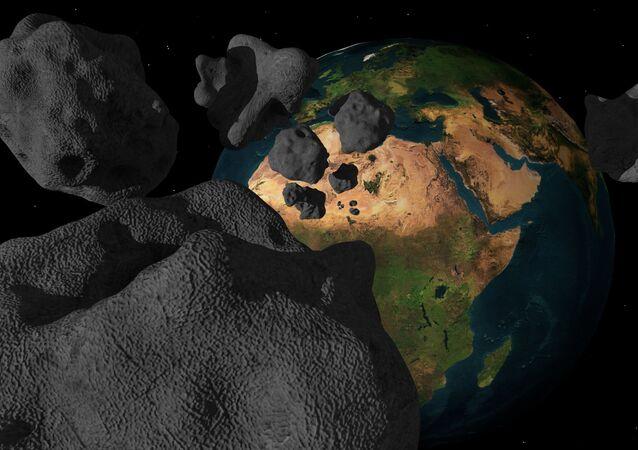 Impressão artística de asteroides se preparando para atingir a Terra