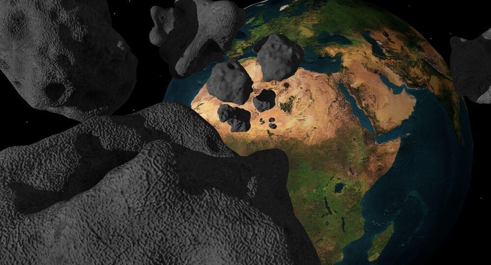 Ilustração artística de asteroides se aproximando da Terra