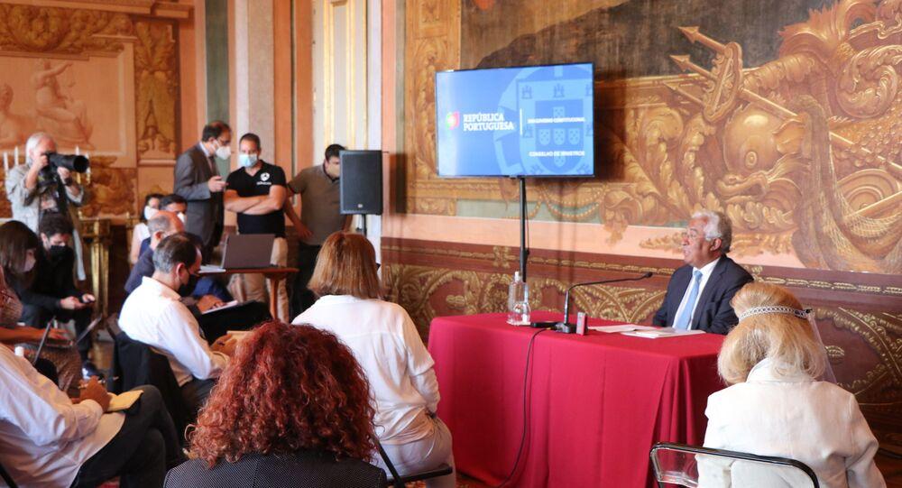 Primeiro-ministro português, António Costa, durante encontro com correspondentes estrangeiros em Lisboa