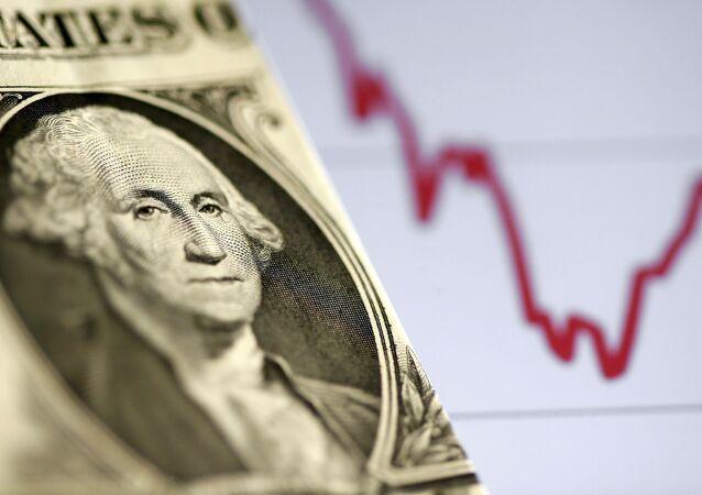 Nota de dólar americano na frente de um gráfico de ações