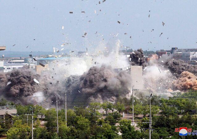 Explosão do escritório de comunicação intercoreano na cidade fronteiriça de Kaesong, na Coreia do Norte, 16 de junho de 2020