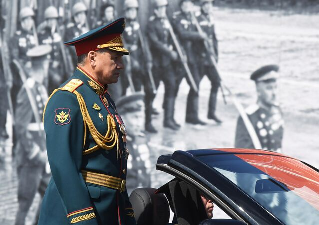 Ministro da Defesa da Rússia, Sergei Shoigu, durante revista das tropas na Parada dos 75 anos da Vitória na Praça Vermelha, em Moscou