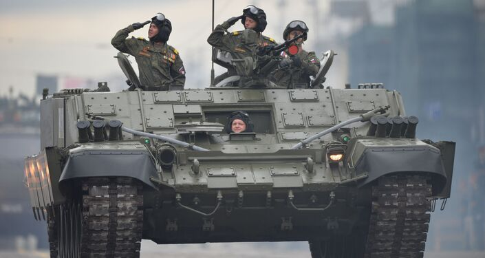 Veículo blindado para lançadores de granada BMO-T durante a parada dos 75 anos da Vitória em Ekaterinburgo