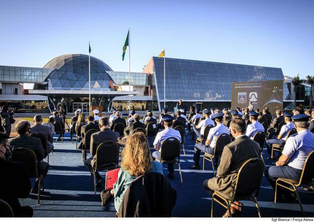 Cerimônia de inauguração do Centro de Operações Espaciais (COPE), em Brasília, em 23 de junho de 2020