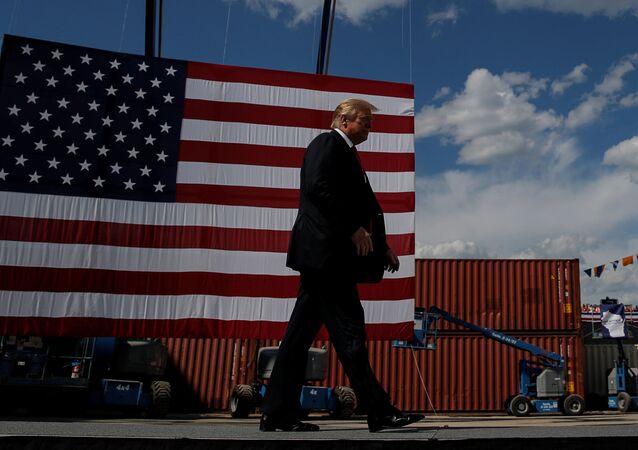 Presidente dos EUA, Donald Trump, em Marinette, Wisconsin, EUA, 25 de junho de 2020.