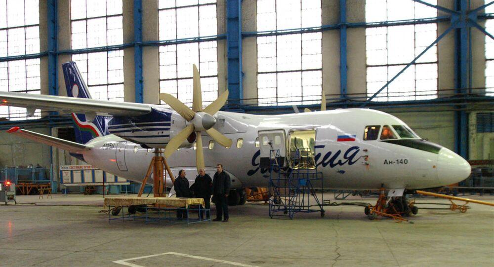 Aeronave An-140 em fábrica na Rússia (imagem referencial)