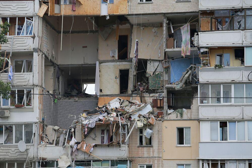 Imagem de prédio após explosão de gás em prédio de Kiev, na Ucrânia