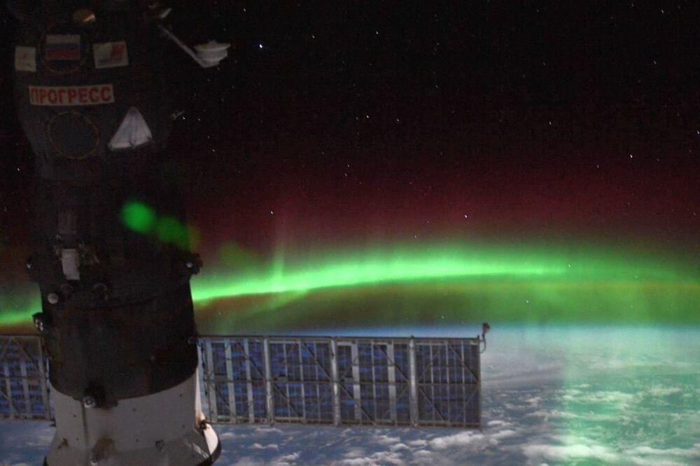 Autora boreal vista da Estação Espacial Internacional
