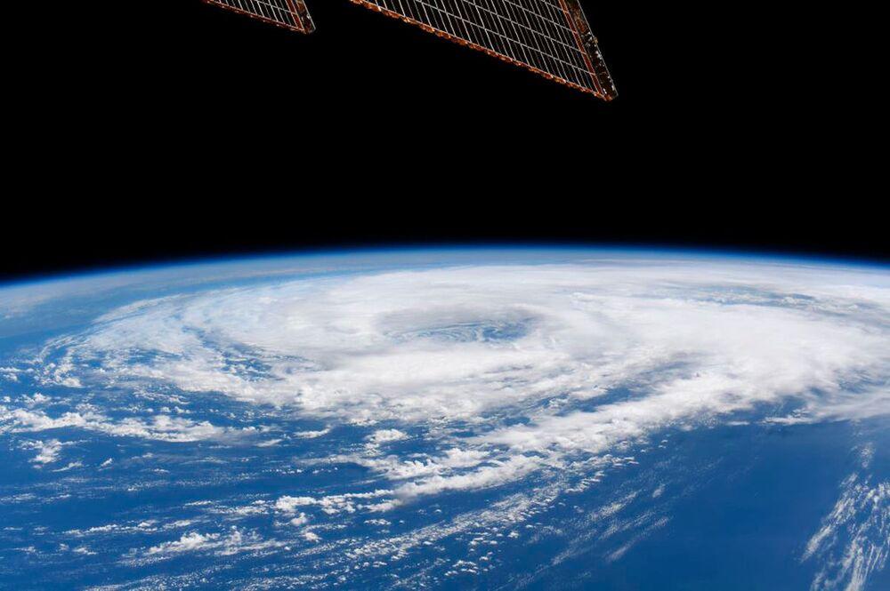 Tempestade tropical Cristobal no golfo do México, vista da Estação Espacial Internacional