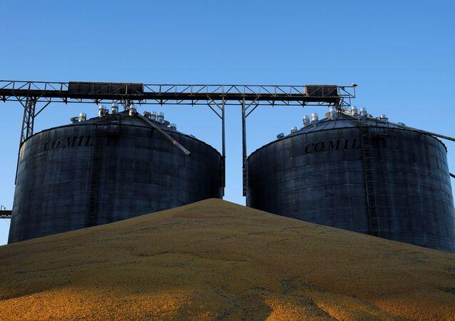 Silos de milho localizados perto de Sorriso, no estado de Mato Grosso