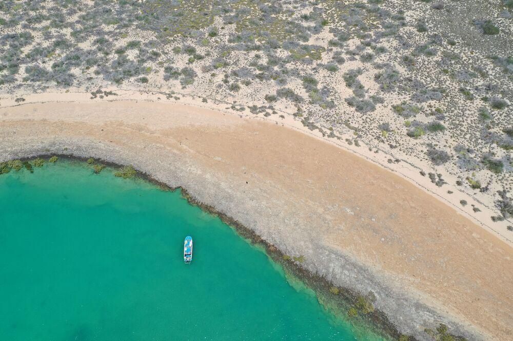 Vista da área onde os artefatos subaquáticos de mais de sete mil anos foram encontrados, na costa australiana