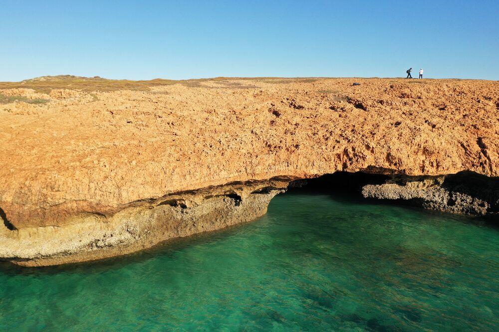 Vista da área onde os artefatos subaquáticos de mais de sete mil anos foram encontrados, no fundo do mar da costa australiana