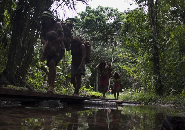 Indígenas yanomami caminham na aldeia Novo Demini, em Barcelos (AM)