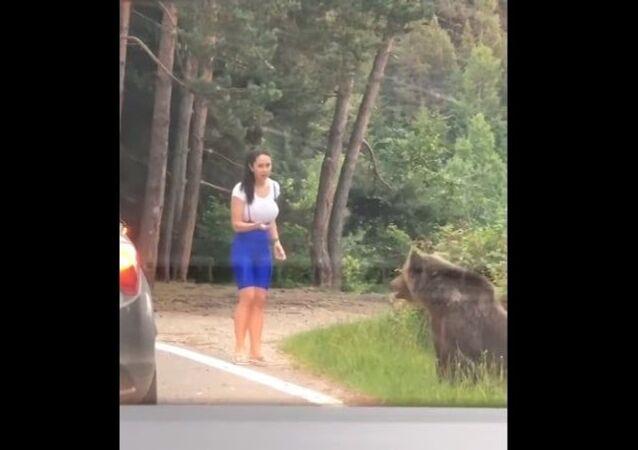 Mulher escapa de virar refeição de urso na Romênia