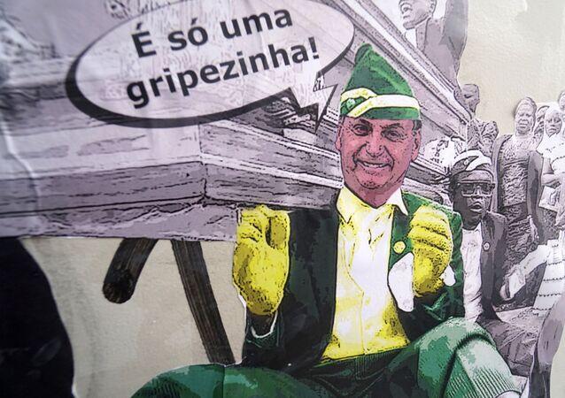 Lambe lambe do artista gráfico Szucinski, com Bolsonaro dançando com o meme do caixão é visto pelas ruas de São Paulo