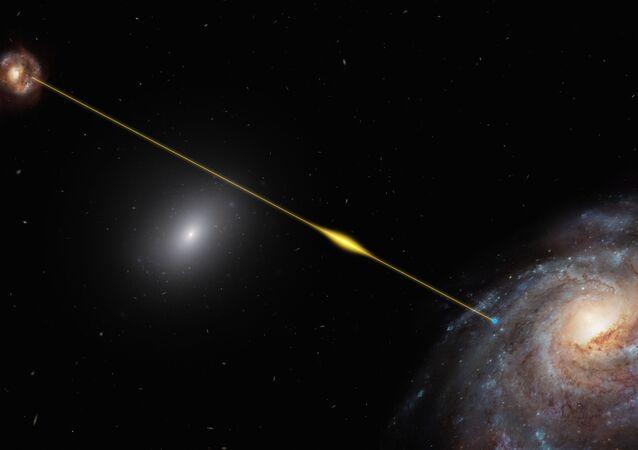 Rápida explosão de rádio passa pelo espaço e atinge a Terra (representação artística)