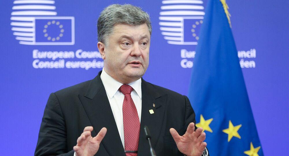 Pyotr Poroshenko, presidente da Ucrânia, Bruxelas, em 12 de fevereiro de 2015