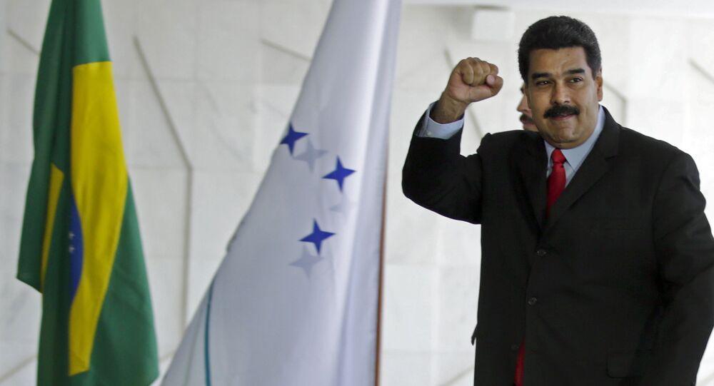 Nicolás Maduro, presidente da Venezuela, em sua chegada à Cúpula do Mercosul no Palácio do Itamaraty, Brasília, Brasil