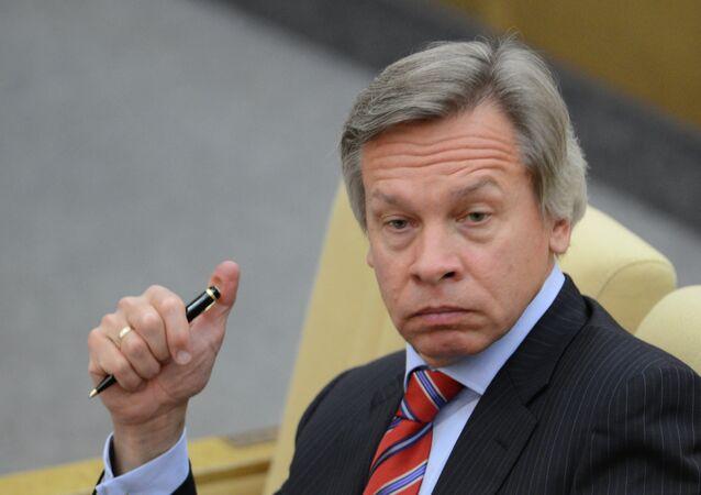 Alexei Pushkov, presidente da Comissão de Relações Exteriores da Duma de Estado (câmara baixa do parlamento russo)