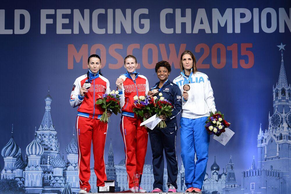 Vencedoras da competição na categoria de lorete no Campeonato Mundial em Moscou