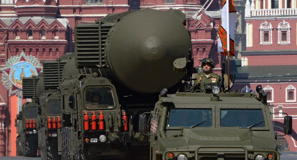 Lanzadera de misiles RS-24 Yars durante el Desfile de la Victoria en la Plaza Roja