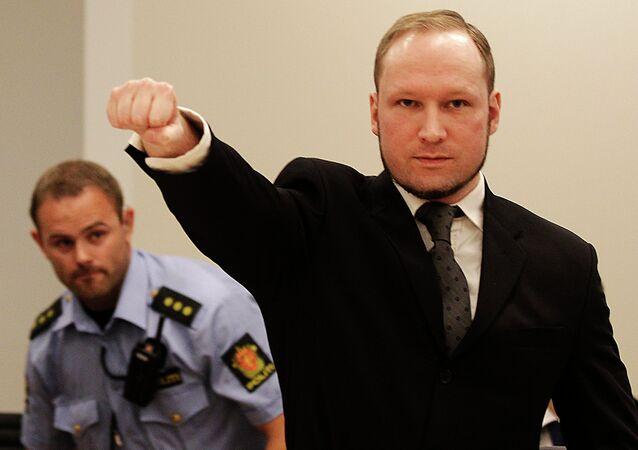 Terrorista Anders Breivik no tribunal de Oslo