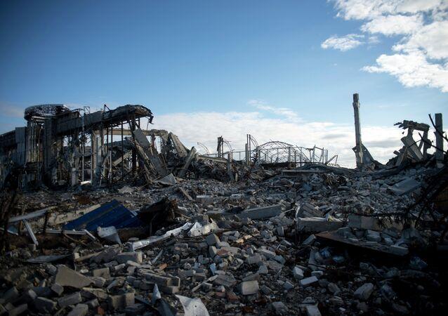 Aeropuerto destruido de Lugansk
