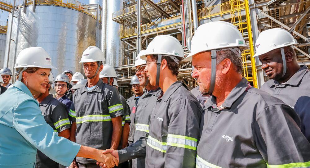 Presidenta Dilma Rousseff durante cerimônia de inauguração da Unidade de Produção de Etanol 2G da Raízen