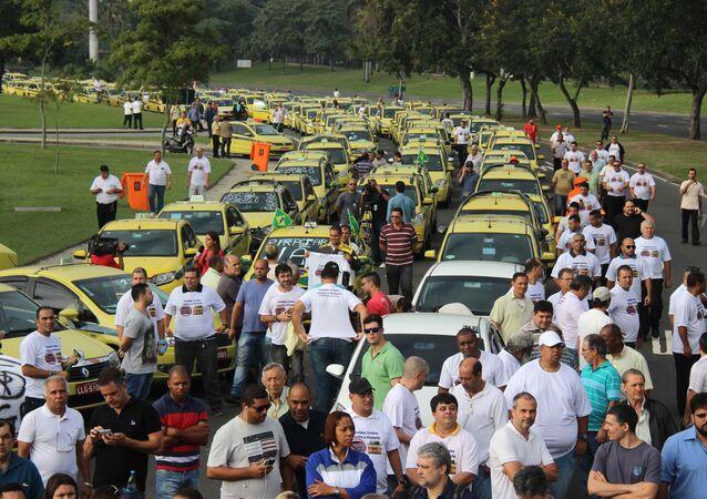 Protestos dos taxistas do Rio de Janeiro contra o Uber.