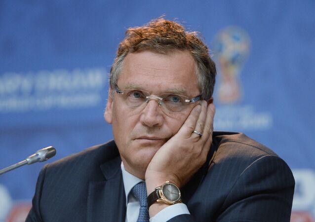 Jerôme Valcke, secretário-geral da FIFA, em São Petersburgo, na véspera do sorteio das eliminatórias para a Copa do Mundo de 2018.