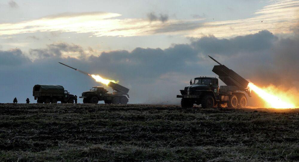 Foguetes Grad usados pelas tropas ucranianas em Donbass