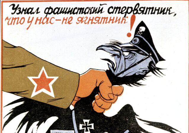 Pôster de propaganda soviética que diz: Agora o abutre sabe que não somos cordeiros