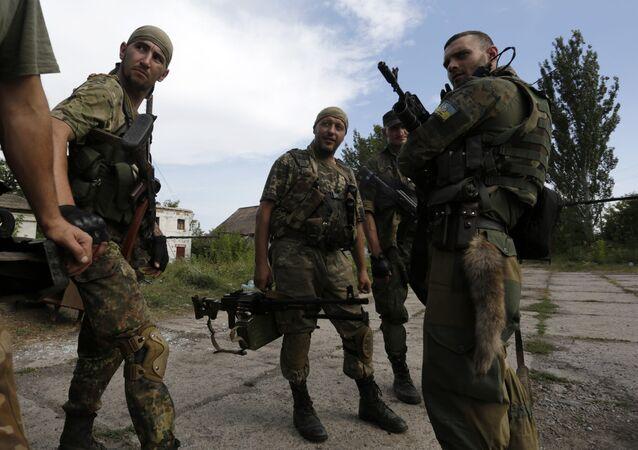 Soldados ucranianos em Donetsk