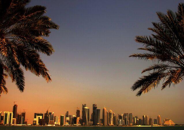 Vista para a capital de Qatar, Doha