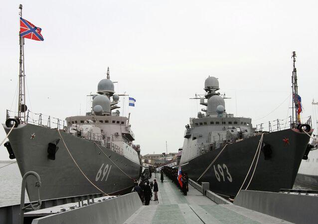 Navios em seviço na Flotilha Russa do Mar Cáspio.