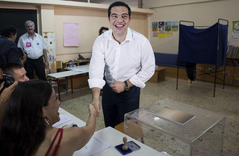 Primeiro-ministro da Grécia, Alexis Tsipras, durante votação no referendo grego