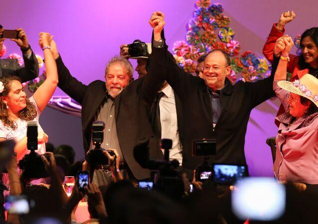 Ex-presidente Lula, durante cerimônia de abertura da 5ª marcha das Margaridas no Estádio Nacional de Brasília