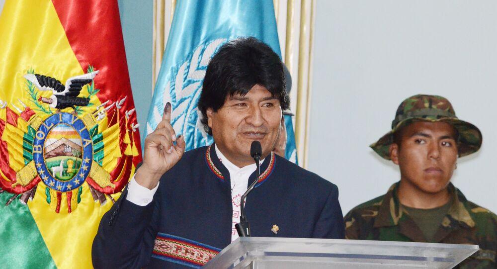 Presidente da Bolívia Evo Morales, durante anúncio em que atende o relatório da ONU para a Bolívia e reduz o cultivo de coca de 23.000 hectares em 2013 para 20.400 em 2014