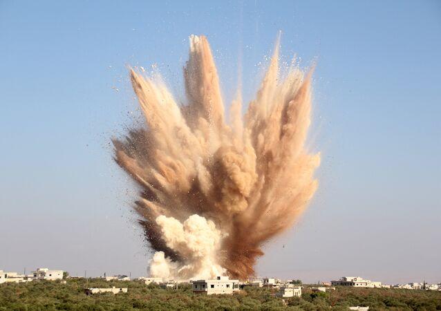 Uma explosão no Noroeste da Síria, em 10 de agosto de 2015