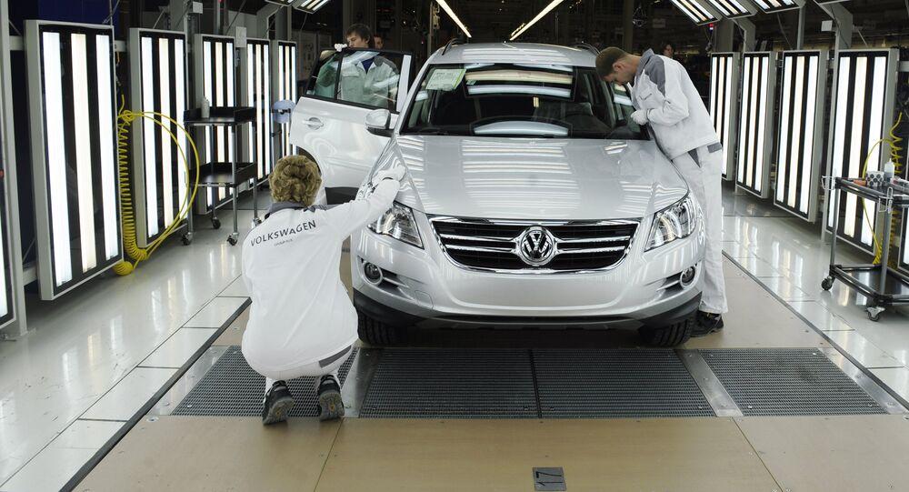 Produção de veículos Volkswagen em Kaluga, na Rússia