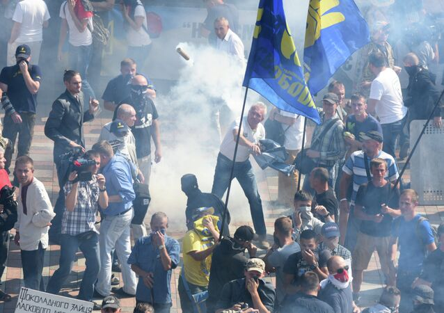Protestos em Kiev no dia 31 de agosto, 2015