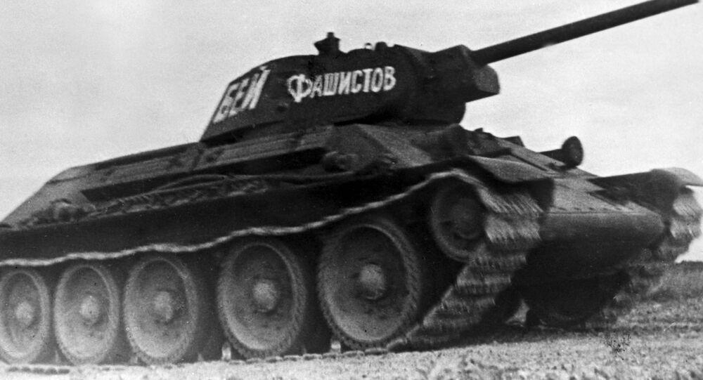 O tanque soviético T-34, que participou de combates durante a Segunda Guerra Mundial